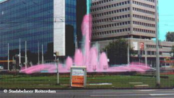 Roze hofplein fontein - Team Sunweb