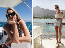 Twee foto's van Moderosa op een boot en een strandje