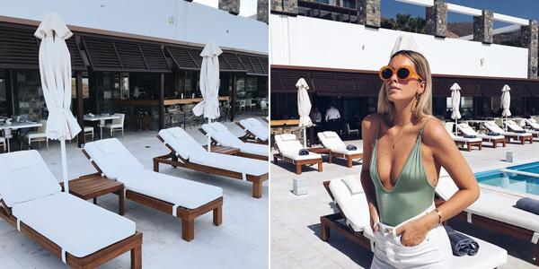 Twee foto's van het zwembadterras van Royal Marmin Bay Boutique