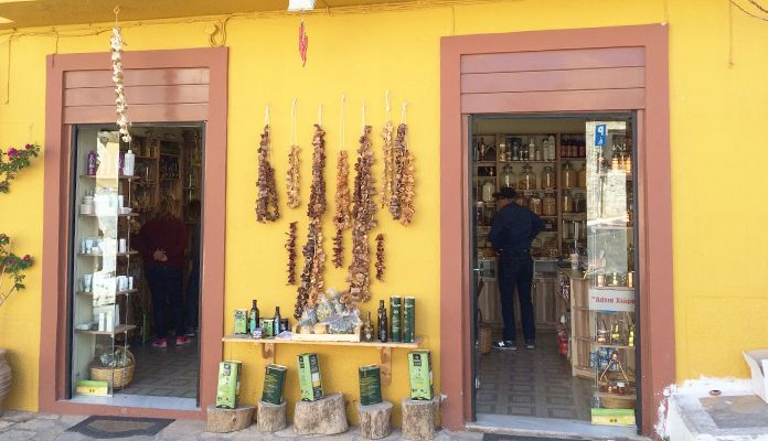 En souvenirbutik på Kreta