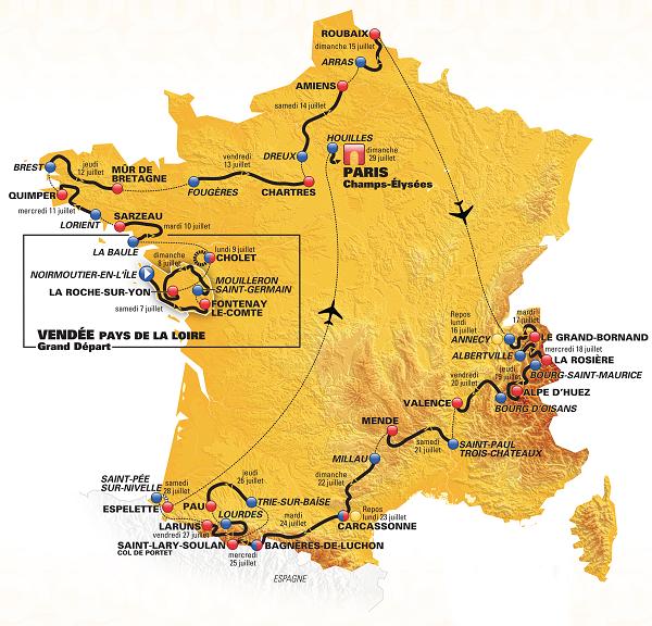 Carte Tour de France 2018